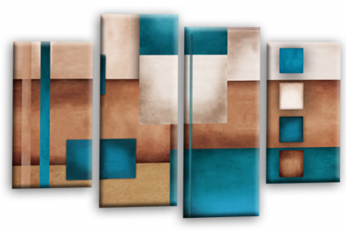 Abstract Canvas Wall Art Teal Grey Cream Picture Print
